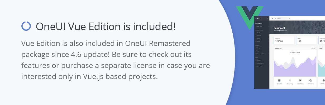 promo 0b - OneUI - Bootstrap 4 Admin Dashboard Template, Vuejs & Laravel 7 Starter Kit