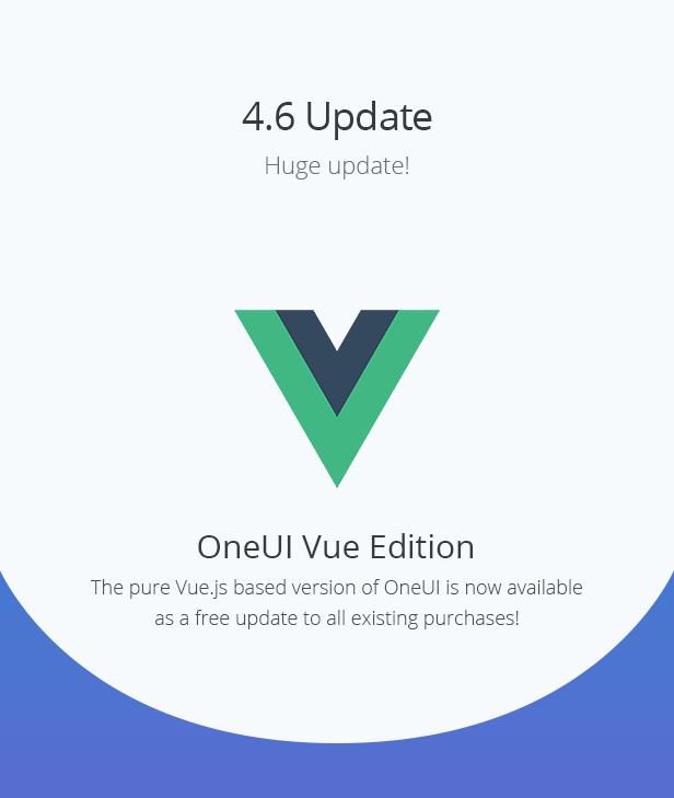 promo update 4.6 - OneUI - Bootstrap 4 Admin Dashboard Template, Vuejs & Laravel 7 Starter Kit