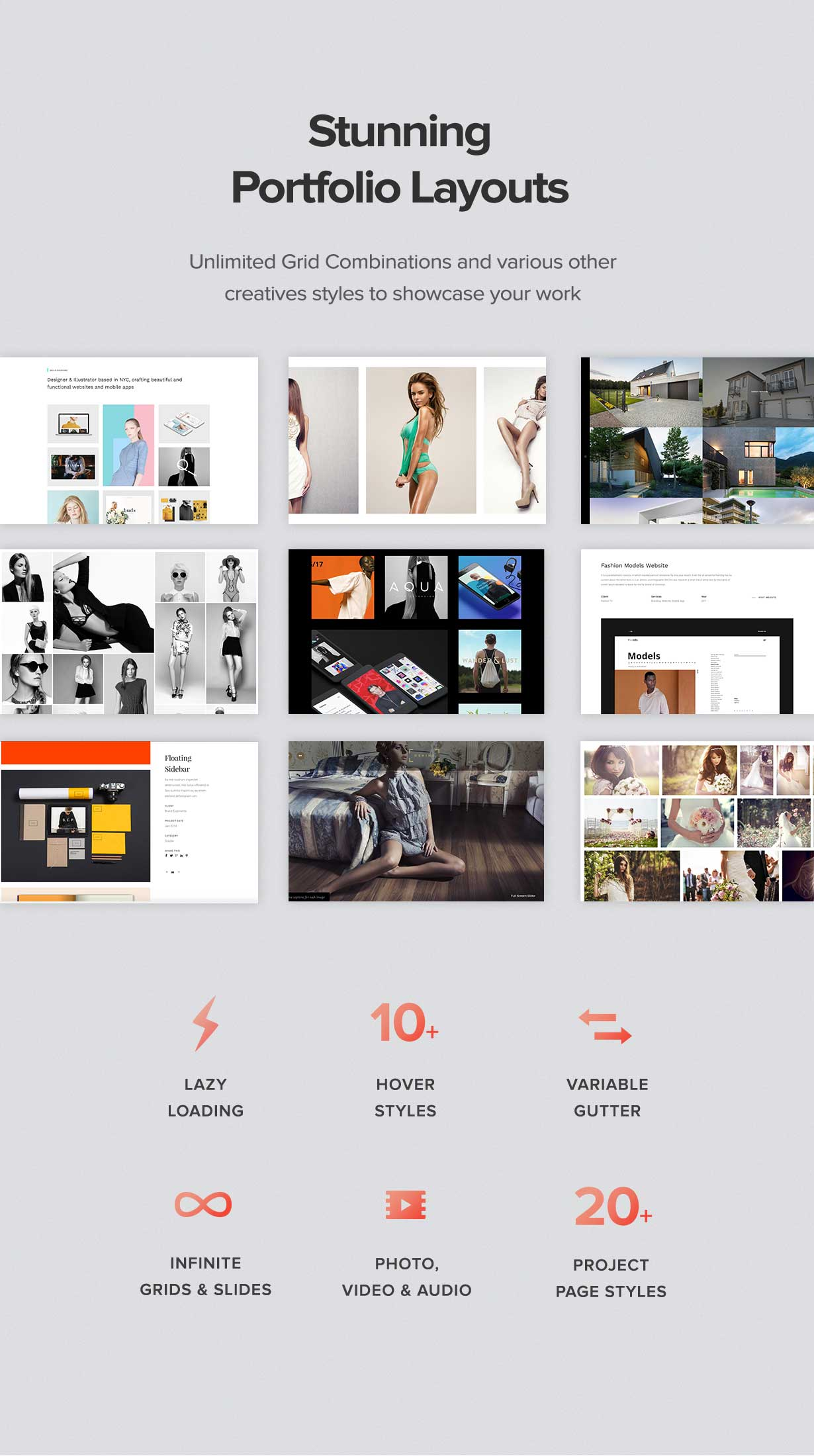 stunning portfolio layouts - Oshine - Multipurpose Creative WordPress Theme