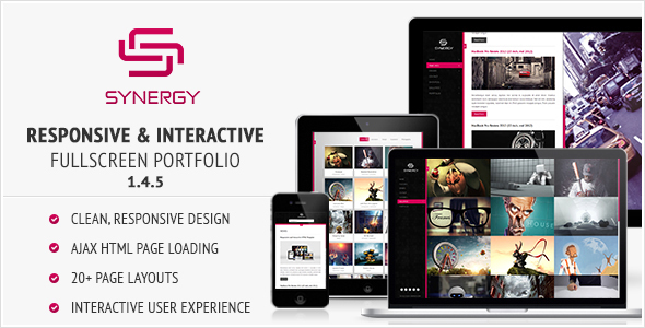 synergy preview.  large preview - Synergy - Responsive & Interactive HTML Portfolio
