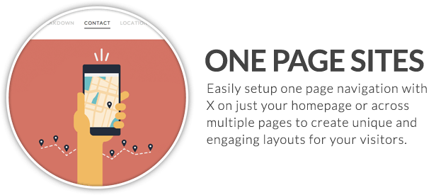 x feature small one page sites - X | The Theme