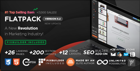 00 cover.  large preview - FLATPACK – Landing Pages Pack With Page Builder