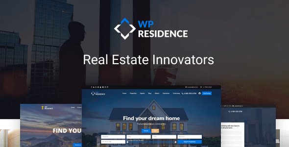 01 preview.  large preview - Residence Real Estate WordPress Theme