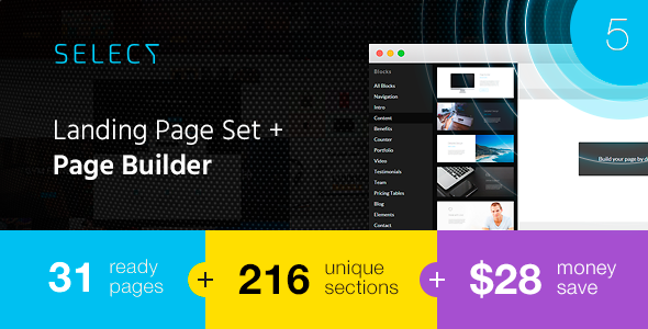 01 preview1.  large preview - Select - Landing Page Set with a Builder