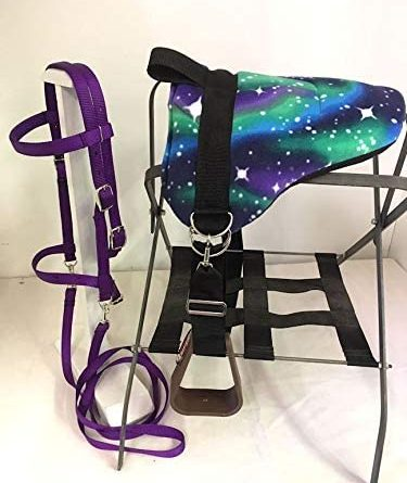 1596509125 41u 9D 81lL. AC  375x445 - Party Ponies Miniature Horse/SM Pony Bareback Saddle PAD Set with BITLESS Bridle - Purple Stary Night Set