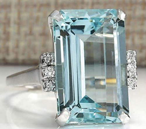 1596856524 41BiZHj7MVL. AC  500x445 - Vintage Women 925 Sterling Silver Aquamarine Gemstone Ring Wedding Jewelry Gift