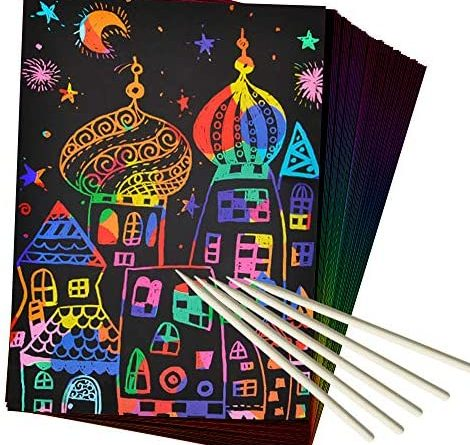 1596986668 51IYDBejN1L. AC  470x445 - ZMLM Scratch Paper Art Set, 50 Piece Rainbow Magic Scratch Paper for Kids Black Scratch it Off Art Crafts Notes Boards Sheet with 5 Wooden Stylus for Easter Party Game Christmas Birthday Gift