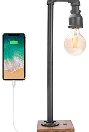 1597116984 31ubbA50lhL. AC  299x445 - Industrial Table Lamp with USB Charging Port, 3 Way Dimmable Touch Control Bedside Lamp Water Pipe Steampunk Lamp Iron Vintage Nightstand Lamp for Living Room, Bedroom, Office, 6W LED Bulb Included
