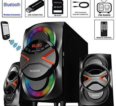 1597550513 516oPZfYP5L. AC  489x445 - Boytone BT-326F, 2.1 Bluetooth Powerful Home Theater Speaker System, with FM Radio, SD USB Ports, Digital Playback, 40 Watts, Disco Lights, Full Function Remote Control, for Smartphone, Tablet.