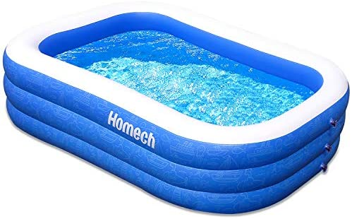 "1597853619 51VBo4m vuL. AC  - Homech Family Inflatable Swimming Pool, 120"" X 72"" X 22"" Full-Sized Inflatable Lounge Pool for Baby, Kiddie, Kids, Adult, Infant, Toddlers for Ages 3+,Outdoor, Garden, Backyard, Summer Water Party"