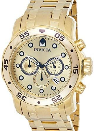 1597896885 51Fema0ToGL. AC  319x445 - Invicta Men's 0074 pro Diver Analog Japanese Quartz 18k Gold-plated Stainless Steel Watch