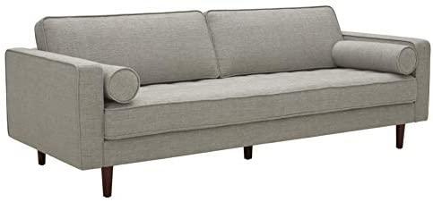 "31AtD3nIjtL. AC  - Amazon Brand – Rivet Aiden Mid-Century Sofa with Tapered Wood Legs, 87""W, Light Grey"