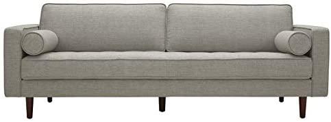 "31kXoMUpbOL. AC  - Amazon Brand – Rivet Aiden Mid-Century Sofa with Tapered Wood Legs, 87""W, Light Grey"