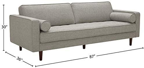 "31yWG5CDDYL. AC  - Amazon Brand – Rivet Aiden Mid-Century Sofa with Tapered Wood Legs, 87""W, Light Grey"