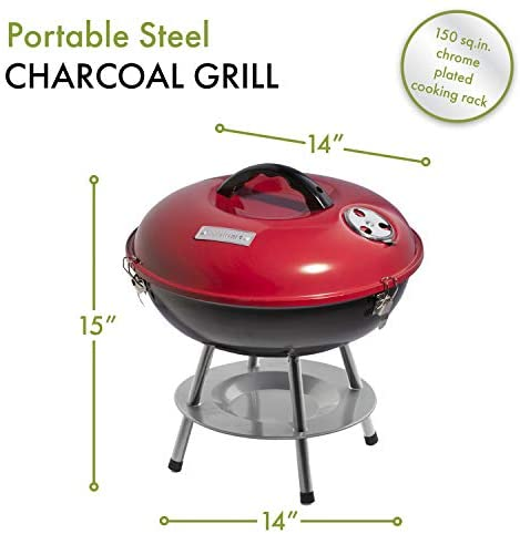 "4195bJttssL. AC  - Cuisinart CCG190RB Portable Charcoal Grill, 14-Inch, Red, 14.5"" x 14.5"" x 15"""