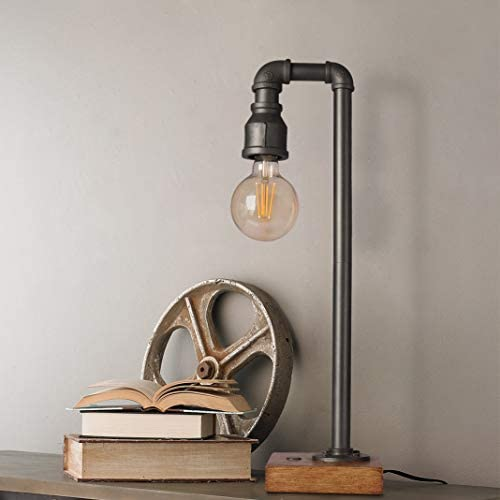 419gKq+DyYL. AC  - Industrial Table Lamp with USB Charging Port, 3 Way Dimmable Touch Control Bedside Lamp Water Pipe Steampunk Lamp Iron Vintage Nightstand Lamp for Living Room, Bedroom, Office, 6W LED Bulb Included