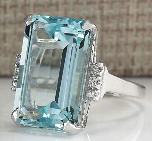 41ARhZYzDfL. AC  - Vintage Women 925 Sterling Silver Aquamarine Gemstone Ring Wedding Jewelry Gift