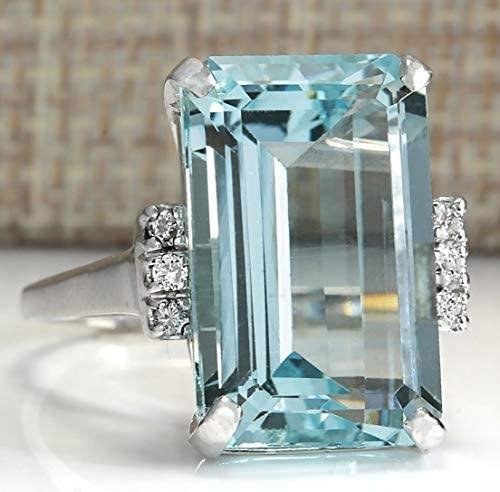 41BiZHj7MVL. AC  - Vintage Women 925 Sterling Silver Aquamarine Gemstone Ring Wedding Jewelry Gift