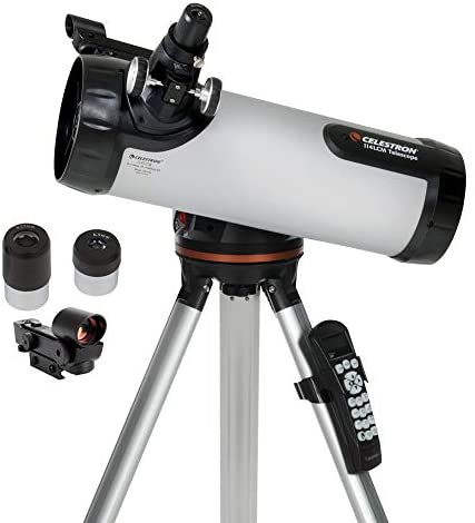 41CTe62sgTL. AC  - Celestron - 114LCM Computerized Newtonian Telescope - Telescopes for Beginners - 2 Eyepieces - Full-Height Tripod - Motorized Altazimuth Mount - Large 114mm Newtonian Reflector
