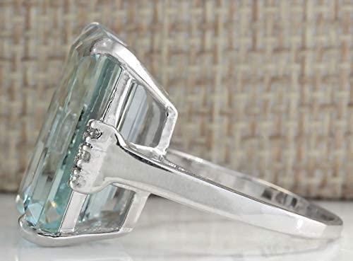 41II2thwWVL. AC  - Vintage Women 925 Sterling Silver Aquamarine Gemstone Ring Wedding Jewelry Gift