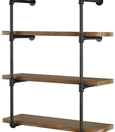 "41LFGdSceL. AC  388x445 - Yuanshikj 2Pc (42"" Tall) (12"" deep) Industrial Wall Mount Iron Pipe Shelf Shelves Shelving Bracket Vintage Retro Black DIY Open Bookshelf DIY Storage offcie Room Kitchen (2 Pcs 4Tier Hardware Only)"