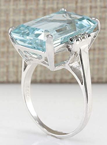 41ab7XukNRL. AC  - Vintage Women 925 Sterling Silver Aquamarine Gemstone Ring Wedding Jewelry Gift