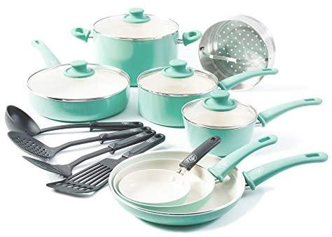 41ajgOe+RoL. AC  - GreenLife Soft Grip 16pc Ceramic Non-Stick Cookware Set, Turquoise - CC001007-001