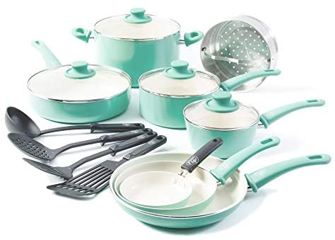 41ajgOeRoL. AC  - GreenLife Soft Grip 16pc Ceramic Non-Stick Cookware Set, Turquoise - CC001007-001