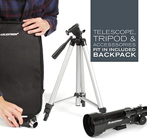 41jlbPtBu3L. AC  - Celestron - 70mm Travel Scope - Portable Refractor Telescope - Fully-Coated Glass Optics - Ideal Telescope for Beginners - BONUS Astronomy Software Package