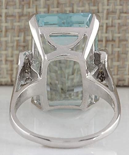 41oM2D2RYsL. AC  - Vintage Women 925 Sterling Silver Aquamarine Gemstone Ring Wedding Jewelry Gift