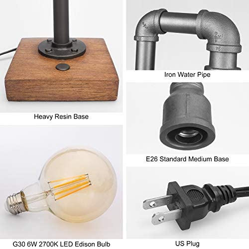 41sFlxsjCvL. AC  - Industrial Table Lamp with USB Charging Port, 3 Way Dimmable Touch Control Bedside Lamp Water Pipe Steampunk Lamp Iron Vintage Nightstand Lamp for Living Room, Bedroom, Office, 6W LED Bulb Included