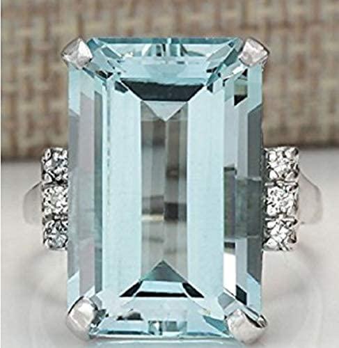 41yNs5TFJSL. AC  - Vintage Women 925 Sterling Silver Aquamarine Gemstone Ring Wedding Jewelry Gift