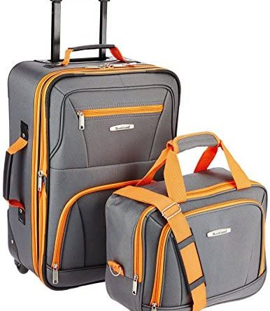 51 H UGGSL. AC  386x445 - Rockland Fashion Softside Upright Luggage Set, Charcoal, 2-Piece (14/20)