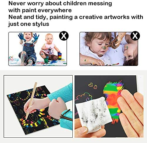 5132vMrMjFL. AC  - ZMLM Scratch Paper Art Set, 50 Piece Rainbow Magic Scratch Paper for Kids Black Scratch it Off Art Crafts Notes Boards Sheet with 5 Wooden Stylus for Easter Party GameChristmas Birthday Gift