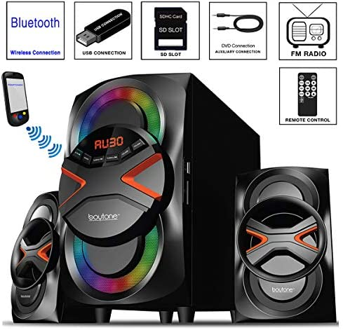 516oPZfYP5L. AC  - Boytone BT-326F, 2.1 Bluetooth Powerful Home Theater Speaker System, with FM Radio, SD USB Ports, Digital Playback, 40 Watts, Disco Lights, Full Function Remote Control, for Smartphone, Tablet.