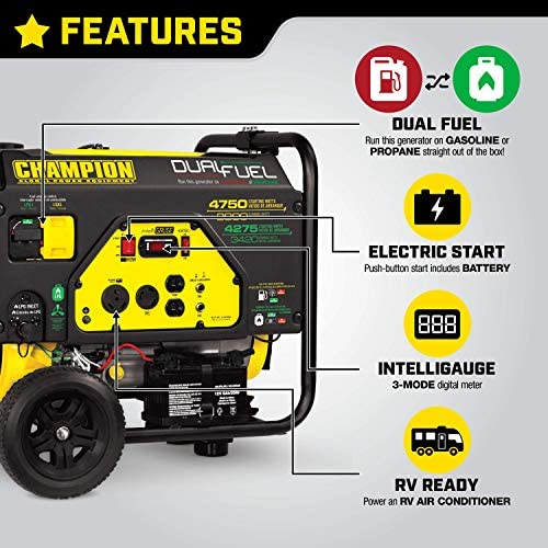 518J37gH oL. AC  - Champion 3800-Watt Dual Fuel RV Ready Portable Generator with Electric Start