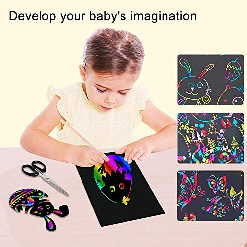 519+AMz9xZL. AC  - ZMLM Scratch Paper Art Set, 50 Piece Rainbow Magic Scratch Paper for Kids Black Scratch it Off Art Crafts Notes Boards Sheet with 5 Wooden Stylus for Easter Party Game Christmas Birthday Gift