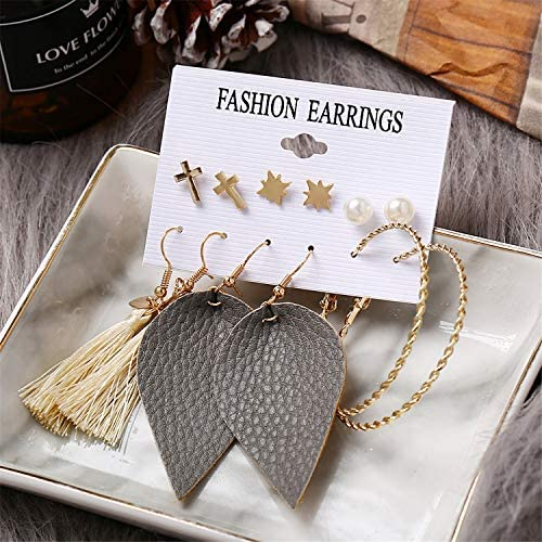 51Ca3PSYFXL. AC  - 36 Pairs Fashion Tassel Earrings Set for Women Girls Bohemian Acrylic Hoop Stud Drop Dangle Earring Leather Leaf Earrings for Birthday/Party/Christmas/Friendship Gifts