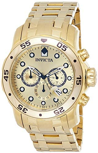 51Fema0ToGL. AC  - Invicta Men's 0074 pro Diver Analog Japanese Quartz 18k Gold-plated Stainless Steel Watch