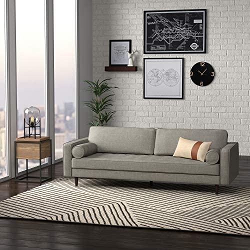 "51GpTreZGiL. AC  - Amazon Brand – Rivet Aiden Mid-Century Sofa with Tapered Wood Legs, 87""W, Light Grey"