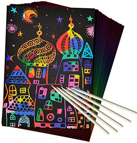 51IYDBejN1L. AC  - ZMLM Scratch Paper Art Set, 50 Piece Rainbow Magic Scratch Paper for Kids Black Scratch it Off Art Crafts Notes Boards Sheet with 5 Wooden Stylus for Easter Party Game Christmas Birthday Gift