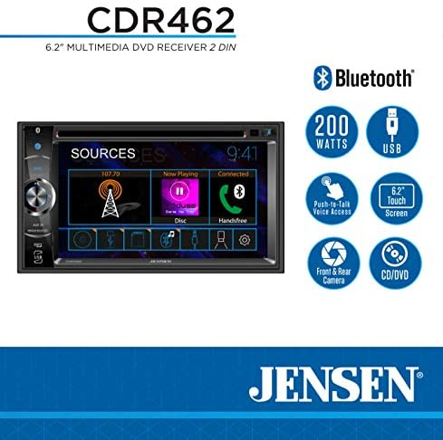 51JWrDh6rtL. AC  - JENSEN CDR462 6.2 inch LED Multimedia Touch Screen Double Din Car Stereo |CD & DVD Player | Push to Talk Assistant | Bluetooth | Steering Wheel Control | USB & microSD Ports