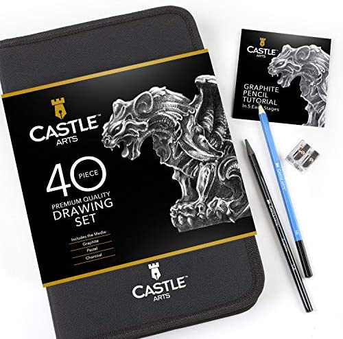 51Qpyt1GnwL. AC  - Castle Art Supplies Graphite Drawing Pencils and Sketch Set (40-Piece Kit), Complete Artist Kit Includes Charcoals, Pastels and Zippered Carry Case, Includes Rare Pop-Up Stand
