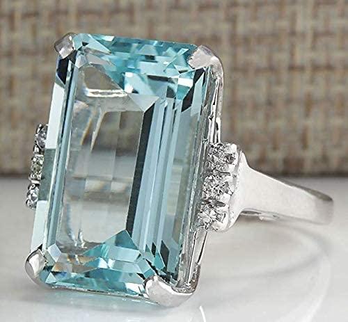 51XmINLplJL. AC  - Vintage Women 925 Sterling Silver Aquamarine Gemstone Ring Wedding Jewelry Gift