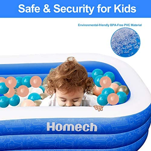 """51Y0g4UA8sL. AC  - Homech Family Inflatable Swimming Pool, 120"""" X 72"""" X 22"""" Full-Sized Inflatable Lounge Pool for Baby, Kiddie, Kids, Adult, Infant, Toddlers for Ages 3+,Outdoor, Garden, Backyard, Summer Water Party"""