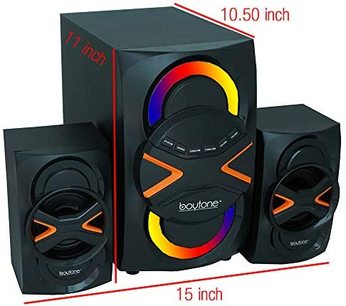 51h6v9h l9L. AC  - Boytone BT-326F, 2.1 Bluetooth Powerful Home Theater Speaker System, with FM Radio, SD USB Ports, Digital Playback, 40 Watts, Disco Lights, Full Function Remote Control, for Smartphone, Tablet.