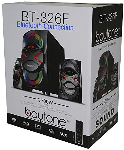 51h9C9UUwqL. AC  - Boytone BT-326F, 2.1 Bluetooth Powerful Home Theater Speaker System, with FM Radio, SD USB Ports, Digital Playback, 40 Watts, Disco Lights, Full Function Remote Control, for Smartphone, Tablet.