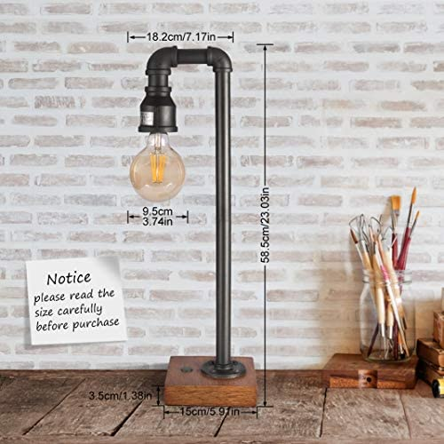 51iAgAPRSPL. AC  - Industrial Table Lamp with USB Charging Port, 3 Way Dimmable Touch Control Bedside Lamp Water Pipe Steampunk Lamp Iron Vintage Nightstand Lamp for Living Room, Bedroom, Office, 6W LED Bulb Included