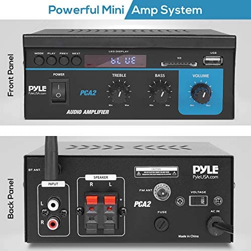 51izJH88T1L. AC  - Home Audio Power Amplifier System  2X40W Mini Dual Channel Sound Stereo Receiver Box w/ LED  For Amplified Speakers, CD Player, Theater via 3.5mm RCA  for Studio, Home Use  Pyle PCA2