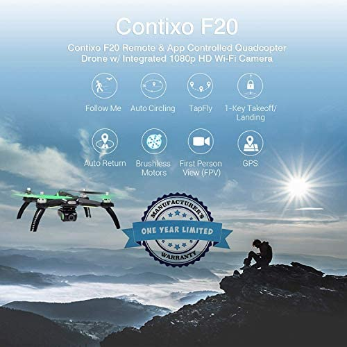 51lHWJM5sKL. AC  - Contixo F20 GPS RC Quadcopter Photography Drone with Camera for Adults - 5GHz WiFi 1080P FHD Gimbal Camera - 20 Minutes Flight Time - 4 Brushless Motors with 90° Adjustable Camera for Advanced Selfie